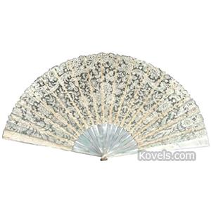 Fan Lace 18 Mother-Of-Pearl Bone Sticks Fabric Lined Box Tiffany Co