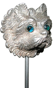 Hatpin Silver Metal Dog Terrier Green Glass Eyes England
