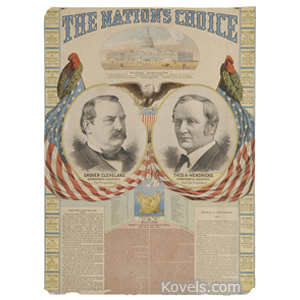 Political Broadside Grover Cleveland Thomas Hendricks Jugate Nations Choice