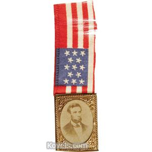Political Ribbon Flag Silk Abraham Lincoln Photo Brass Shell Frame C1864