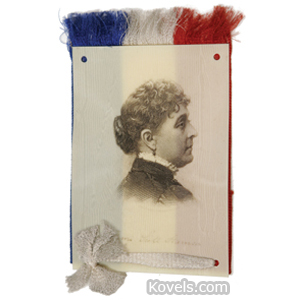 Political Ribbon Mrs Benjamin Harrison Celluloid Portrait Red White Blue 1892
