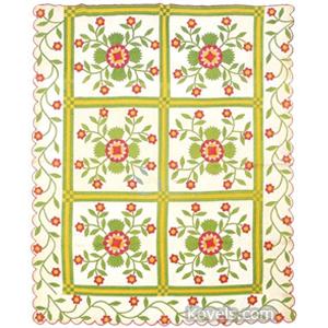 Quilt Appliqued 6 Blocks Green Yellow Roses Flower Vine Border