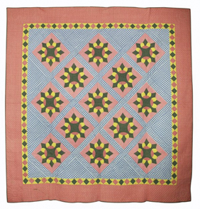 Quilt Appliqued Star Multicolored Double Border Lancaster County Pa 1900s