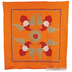 Quilt Appliqued Starburst Spread Wing Eagles Sawtooth Border Earth Tones