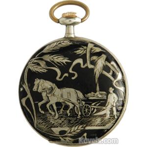 Watch Hunting Case Scenes Art Nouveau Black Enamel Arabic Numerals C1900