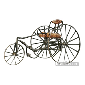 Bicycles Velocipede 3 Spoked Wheels Pedals Upholstered Seat Cushions 19th Century | Kovels' Price Guide