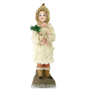 Candy container Angel Bisque Head Blue Glass Eyes Rabbit Fur Robe Germany | Kovels' Price Guide