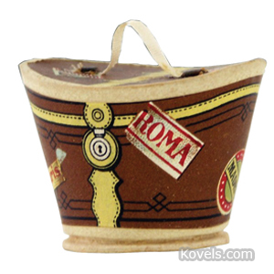 Candy container Hat Box World Travel Labels Pressed Paper Dresden | Kovels' Price Guide