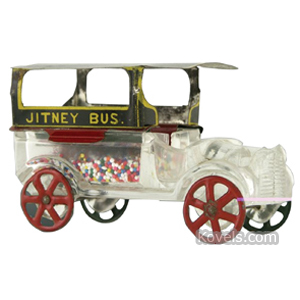 Candy container Jitney Bus Glass Tin Top Metal Wheels   Kovels' Price Guide