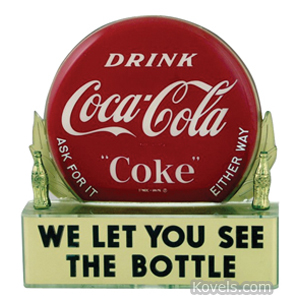 Coca-Cola Bottle Topper Bottle Cap Drink Coca-Cola We Let You See The Bottle Tin 1950s | Kovels' Price Guide