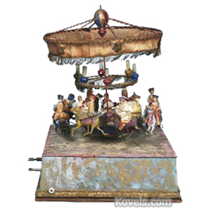 Doll Automaton Carousel Riders On Gondolas Horses Silk Canopy France