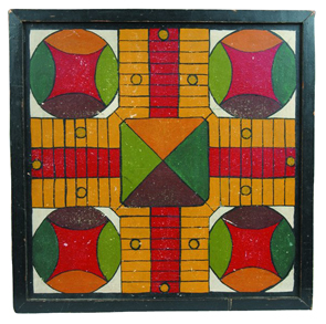Game Board Parcheesi Wood Frame Multicolored Paint Square