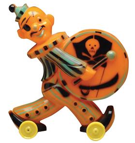 Halloween Bank Pirate With Drum Orange Plastic Green Black Trim Yellow Wheels