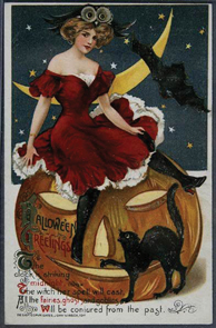Halloween Postcard Woman On Pumpkin Black Cat Bat Halloween Greetings Verse Ss Winsch