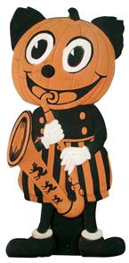 Halloween Standup Jack-O-Lantern Playing Saxophone Die Cut Germany