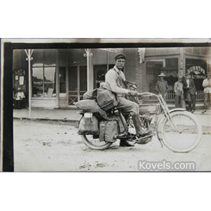 Motorcycle Postcard Photo Harley-Davidson Mailman I Am With 235 Pounds Of Mail 1914