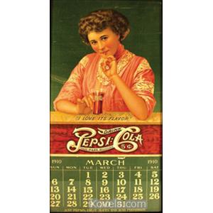 Pepsi-Cola Calendar 1910 Woman Sipping Pepsi American Lithographic Co