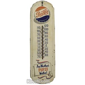 Pepsi-Cola Thermometer Wall Sheet Metal Red White Blue Logo