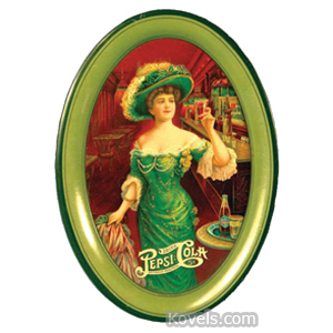 Pepsi-Cola Tip Tray Woman In Green Dress Hat Green Border Oval