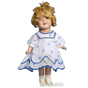 Shirley Temple Doll Composition Sleep Eyes 5-Piece Body Dress Tag