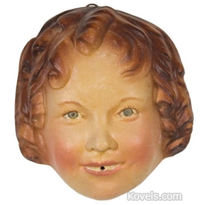 Shirley Temple Stringholder Chalkware Painted String Hole At Mouth Wire Hanger