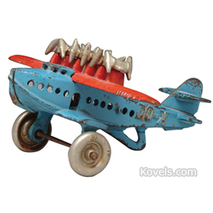 Toy Airplane Dox 6 Engines On Ribbed Wing Nickel-Plated Tires Hubley