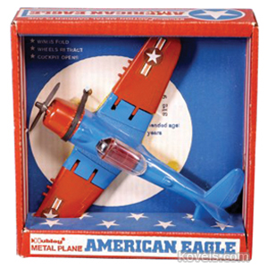 Toy Airplane Fighter Navy American Eagle Blue Red Hubley Box