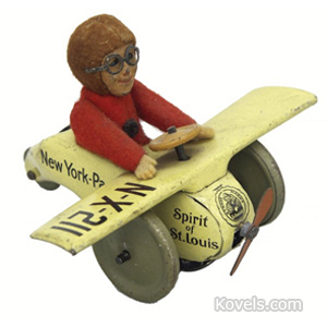 Toy Airplane Spirit Of St Louis Felt-Covered Pilot Tin Friction Schuco