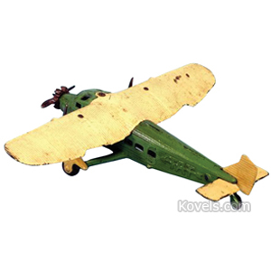 Toy Airplane Tat Cast Iron Ribbed Wings Green Yellow Embossed Kilgore