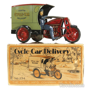Cycle car delivery motorcycle base bell windup tin hoge mfg co