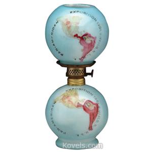 Worlds Fair Lamp 1901 Buffalo Milk Glass North South America Map Nutmeg Burner